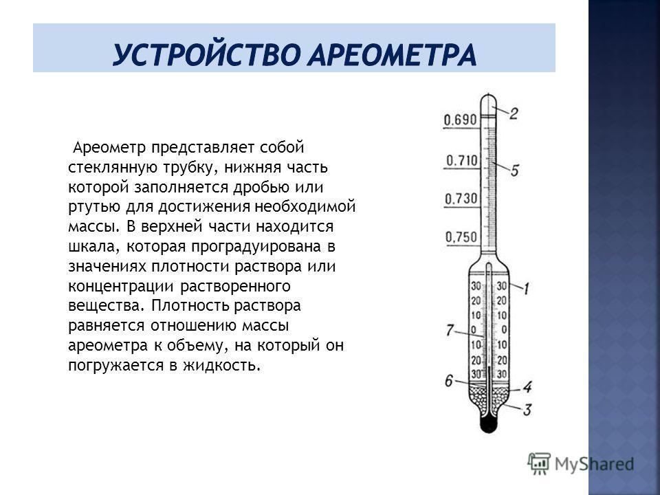 Ареометр представляет собой стеклянную трубку, нижняя часть которой заполняется дробью или ртутью для достижения необходимой массы. В верхней части находится шкала, которая проградуирована в значениях плотности раствора или концентрации растворенного