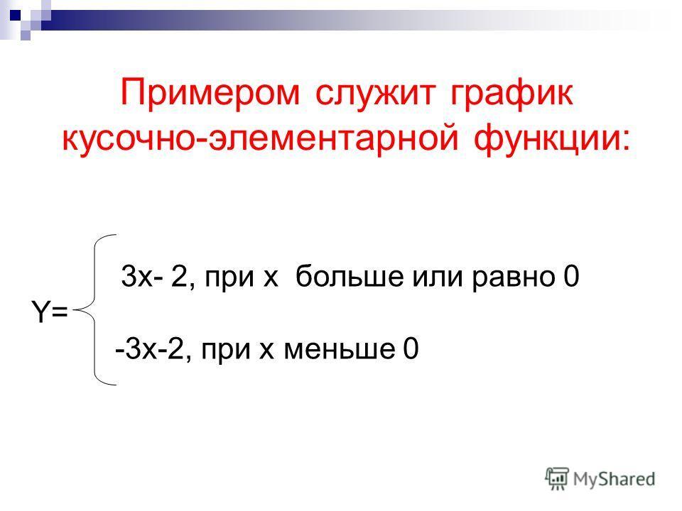 Примером служит график кусочно-элементарной функции: 3x- 2, при x больше или равно 0 Y= -3x-2, при x меньше 0