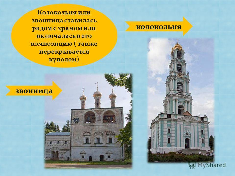 Колокольня или звонница ставилась рядом с храмом или включалась в его композицию ( также перекрывается куполом) колокольня звонница