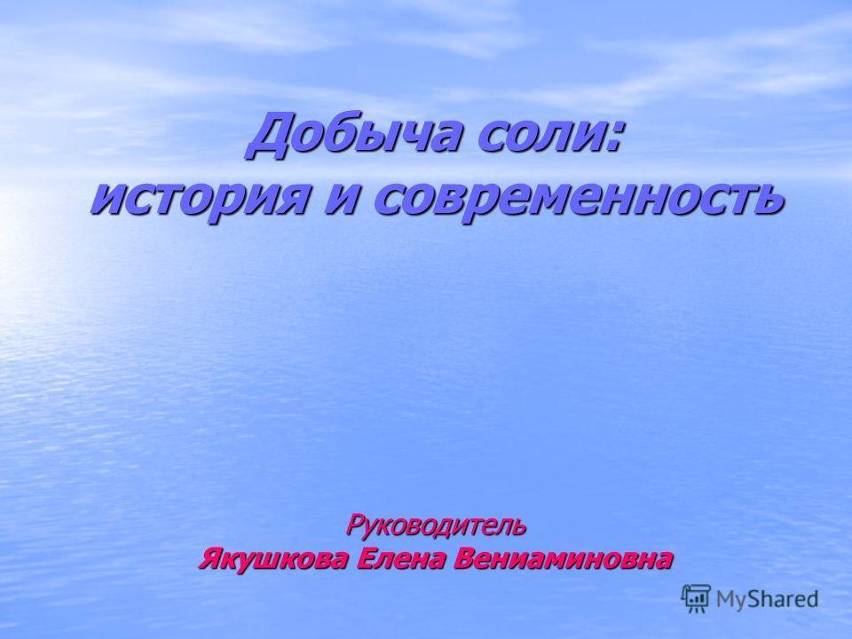 Добыча соли: история и современность Руководитель Якушкова Елена Вениаминовна