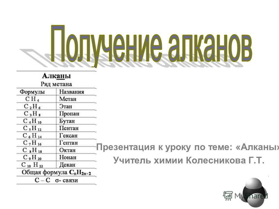 Презентация к уроку по теме: «Алканы» Учитель химии Колесникова Г.Т.