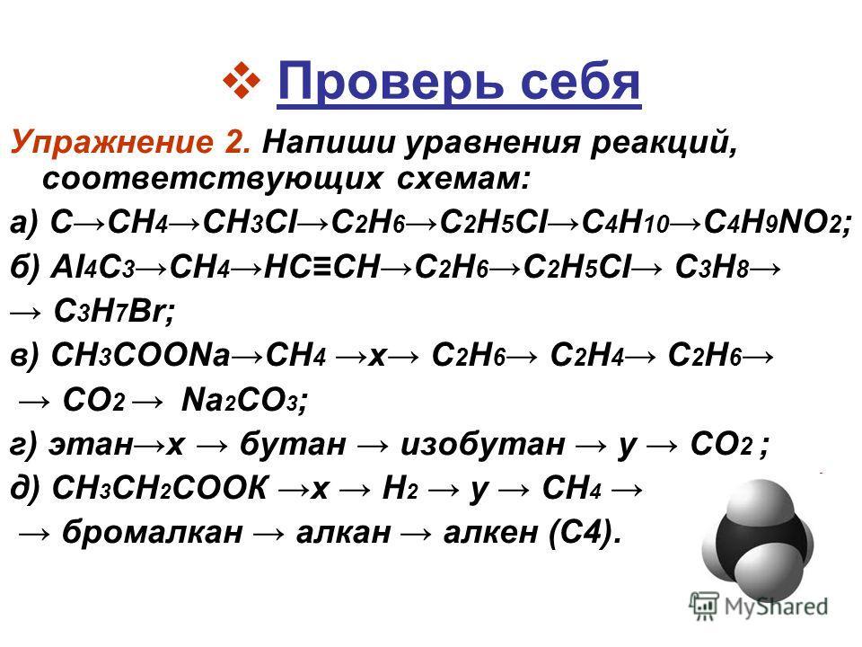 Проверь себя Упражнение 2. Напиши уравнения реакций, соответствующих схемам: а) ССН 4CH 3 CIС 2 Н 6C 2 H 5 CIС 4 Н 10C 4 H 9 NО 2 ; б) AI 4 C 3 СН 4 НССНС 2 Н 6C 2 H 5 CI С 3 Н 8 С 3 Н 7 Вr; в) CH 3 COONaСН 4 х С 2 Н 6 С 2 Н 4 С 2 Н 6 СО 2 Na 2 CО 3