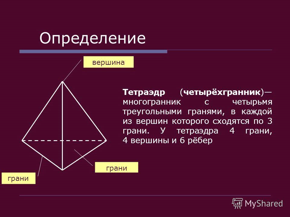Определение Тетраэдр (четырёхгранник) многогранник с четырьмя треугольными гранями, в каждой из вершин которого сходятся по 3 грани. У тетраэдра 4 грани, 4 вершины и 6 рёбер вершина грани