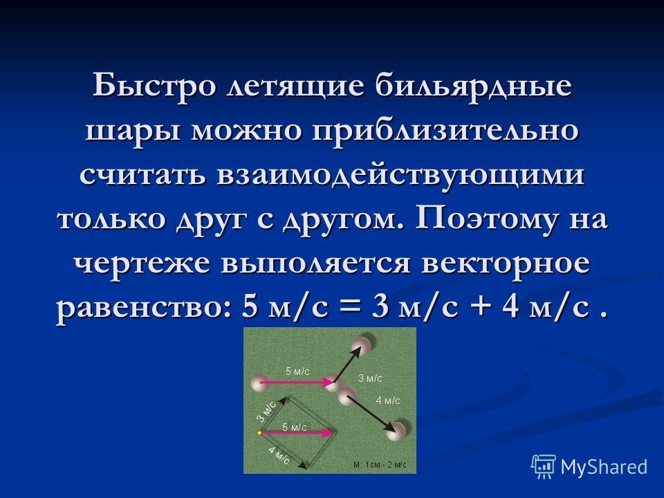 Быстро летящие бильярдные шары можно приблизительно считать взаимодействующими только друг с другом. Поэтому на чертеже выполяется векторное равенство: 5 м/с = 3 м/с + 4 м/с.