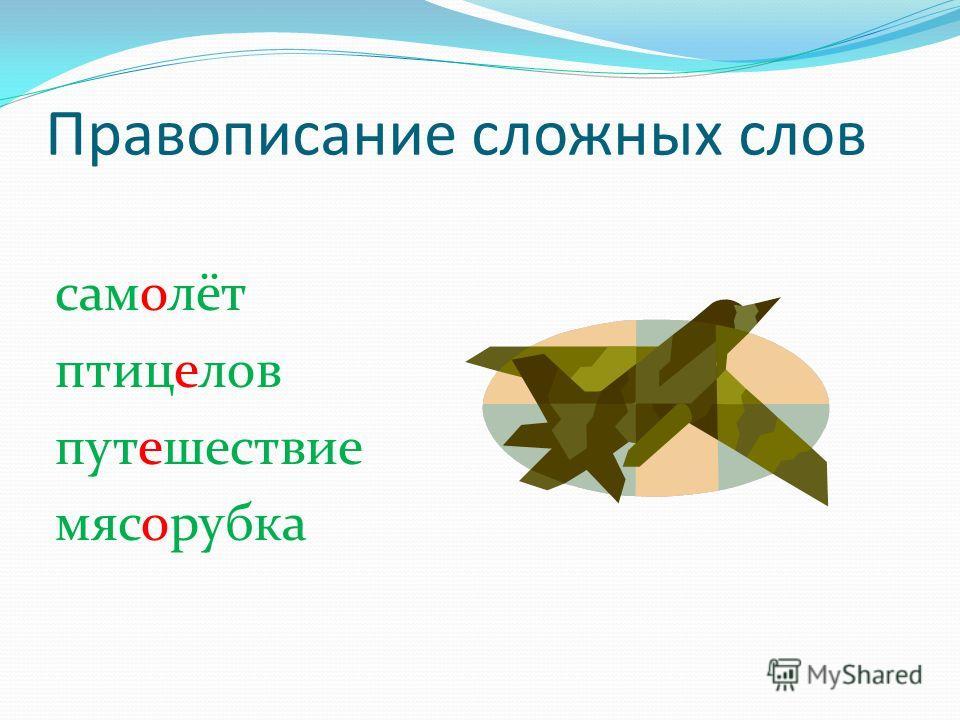 Правописание сложных слов самолёт птицелов путешествие мясорубка