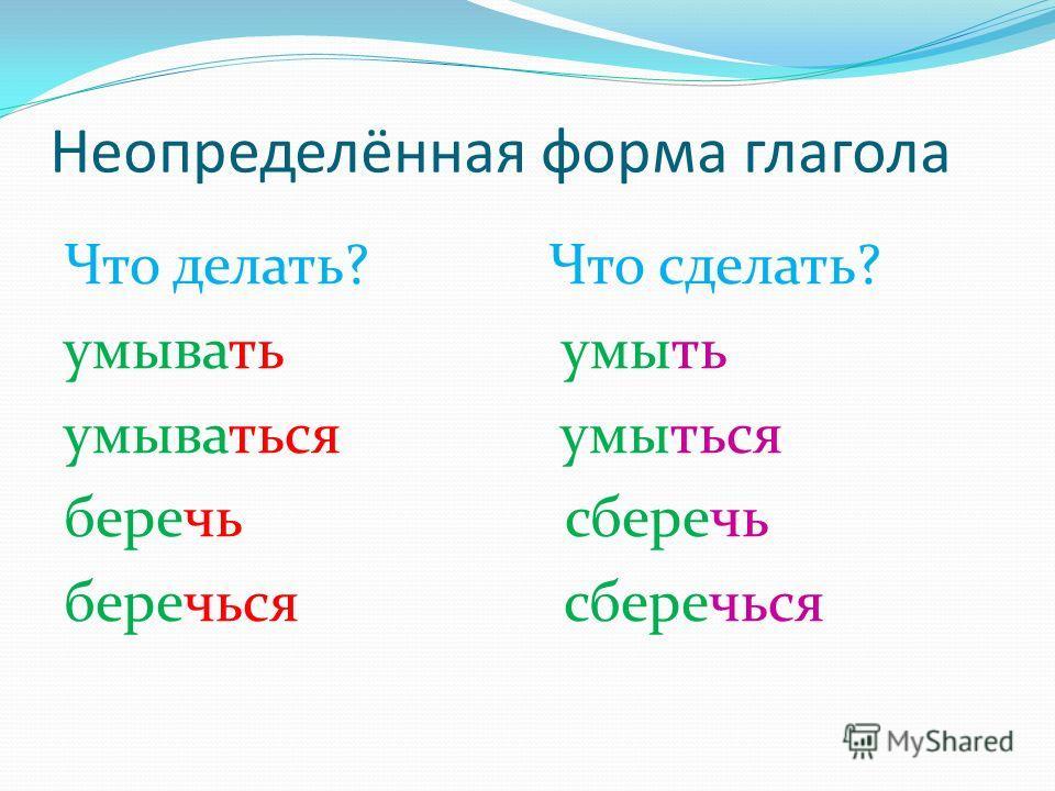 Неопределённая форма глагола Что делать? Что сделать? умывать умыть умываться умыться беречь сберечь беречься сберечься