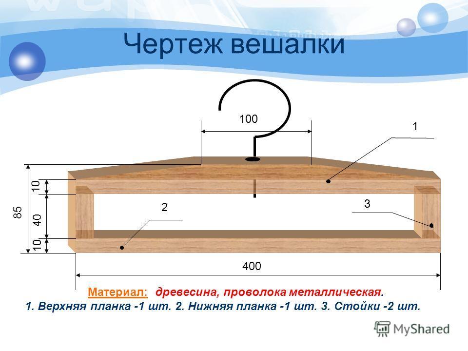 Чертеж вешалки 400 100 1 85 10 40 10 Материал: древесина, проволока металлическая. 1. Верхняя планка -1 шт. 2. Нижняя планка -1 шт. 3. Стойки -2 шт. 3 2