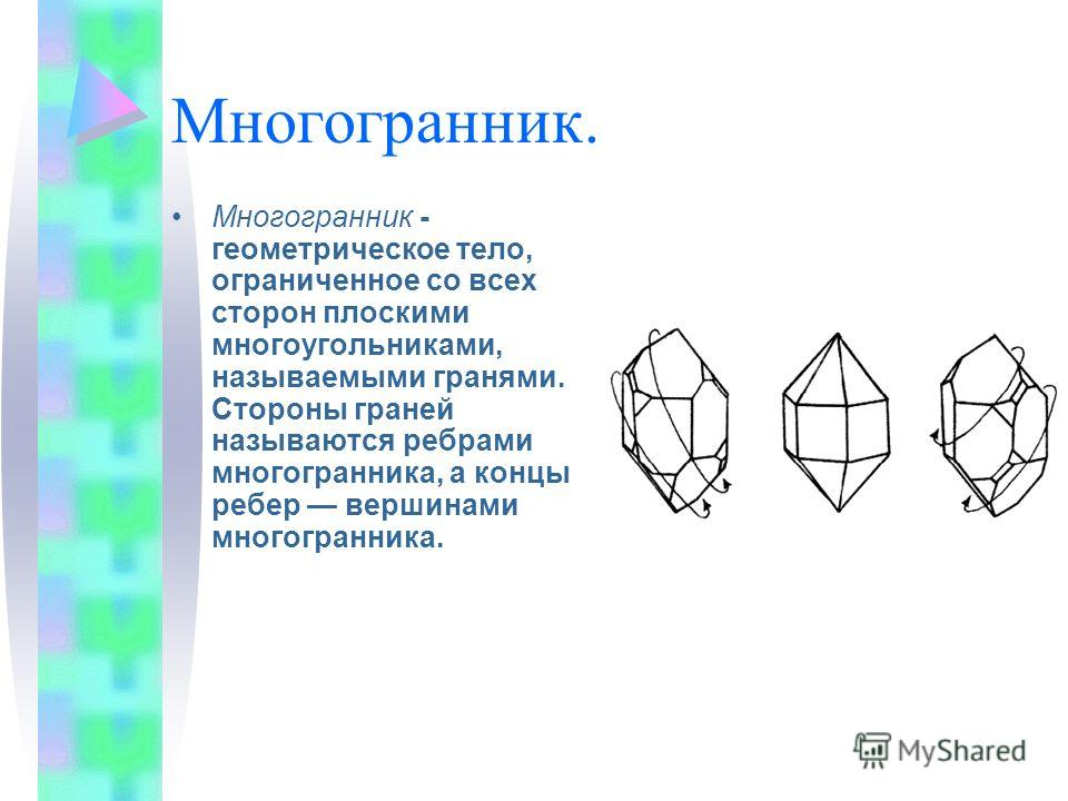 Многогранник. Многогранник - геометрическое тело, ограниченное со всех сторон плоскими многоугольниками, называемыми гранями. Стороны граней называются ребрами многогранника, а концы ребер вершинами многогранника.