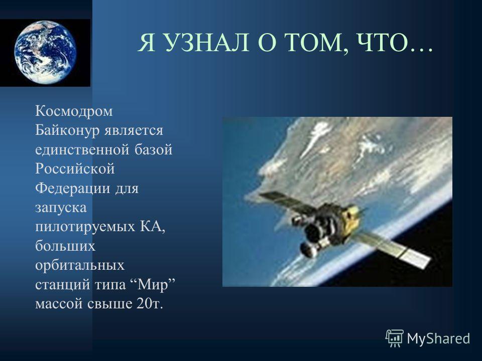 Космодром Байконур является единственной базой Российской Федерации для запуска пилотируемых КА, больших орбитальных станций типа Мир массой свыше 20т. Я УЗНАЛ О ТОМ, ЧТО…