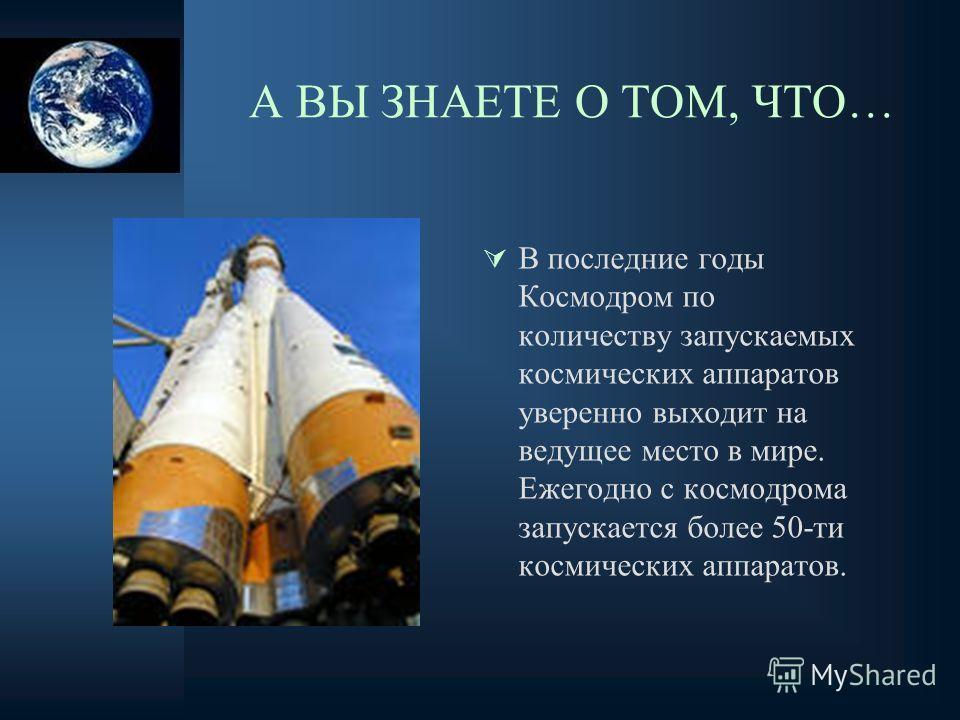 А ВЫ ЗНАЕТЕ О ТОМ, ЧТО… В последние годы Космодром по количеству запускаемых космических аппаратов уверенно выходит на ведущее место в мире. Ежегодно с космодрома запускается более 50-ти космических аппаратов.