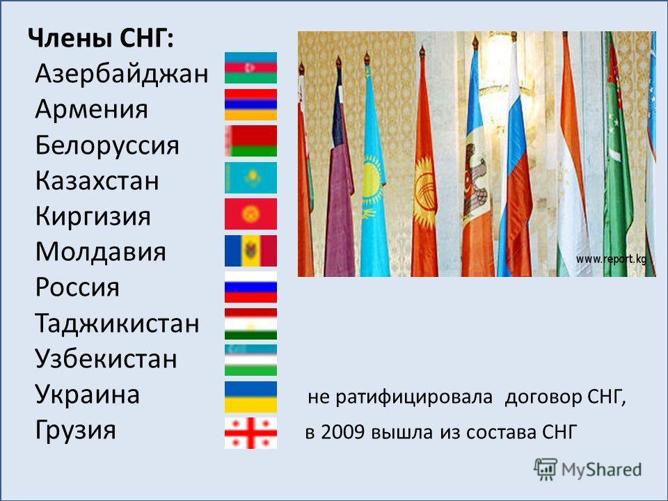 Члены СНГ: Азербайджан Армения Белоруссия Казахстан Киргизия Молдавия Россия Таджикистан Узбекистан Украина не ратифицировала договор СНГ, Грузия в 2009 вышла из состава СНГ