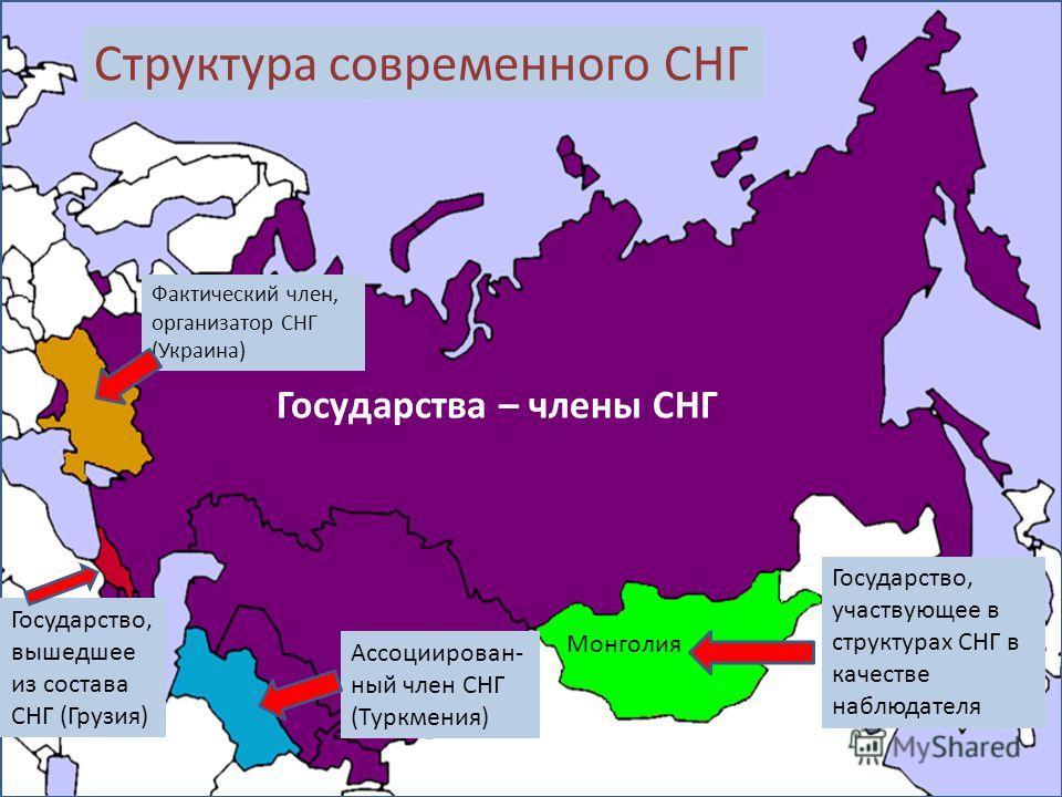 Государства – члены СНГ Государство, участвующее в структурах СНГ в качестве наблюдателя Монголия Государство, вышедшее из состава СНГ (Грузия) Ассоциирован- ный член СНГ (Туркмения) Фактический член, организатор СНГ (Украина) Структура современного