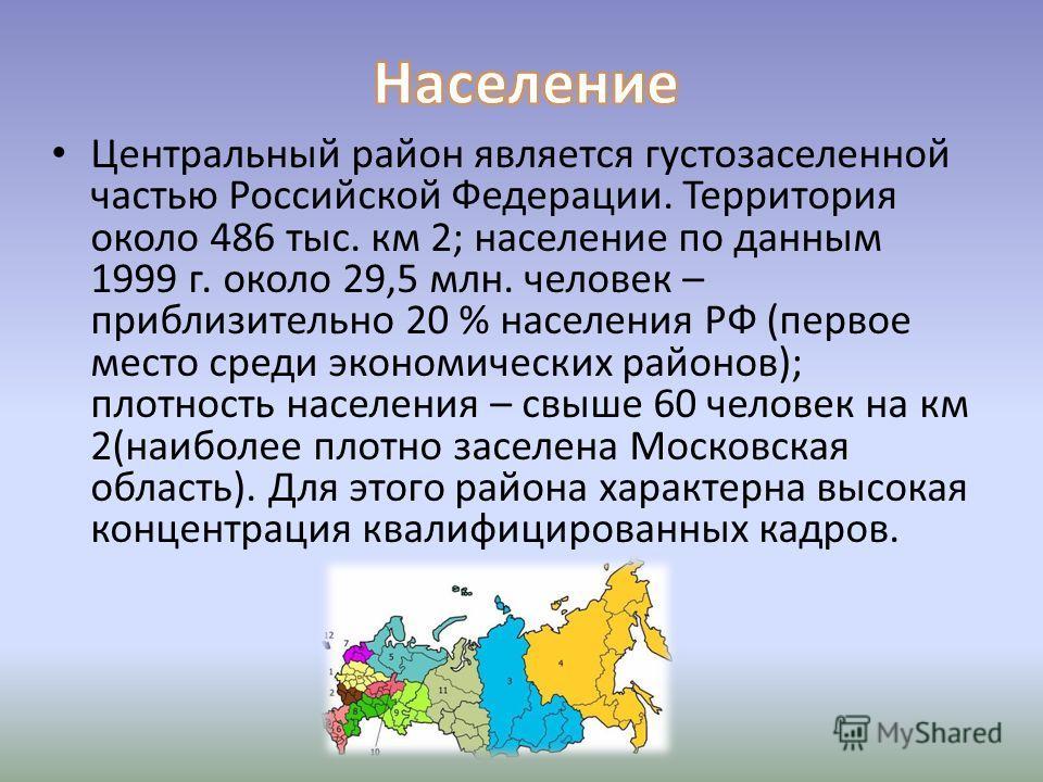 Центральный район является густозаселенной частью Российской Федерации. Территория около 486 тыс. км 2; население по данным 1999 г. около 29,5 млн. человек – приблизительно 20 % населения РФ (первое место среди экономических районов); плотность насел