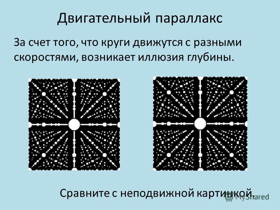 Двигательный параллакс За счет того, что круги движутся с разными скоростями, возникает иллюзия глубины. Сравните с неподвижной картинкой.