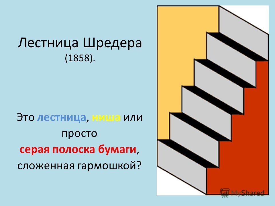 Лестница Шредера (1858). Это лестница, ниша или просто серая полоска бумаги, сложенная гармошкой?