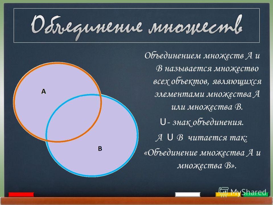 Объединением множеств А и В называется множество всех объектов, являющихся элементами множества А или множества В. U - знак объединения. А U В читается так: «Объединение множества А и множества В».