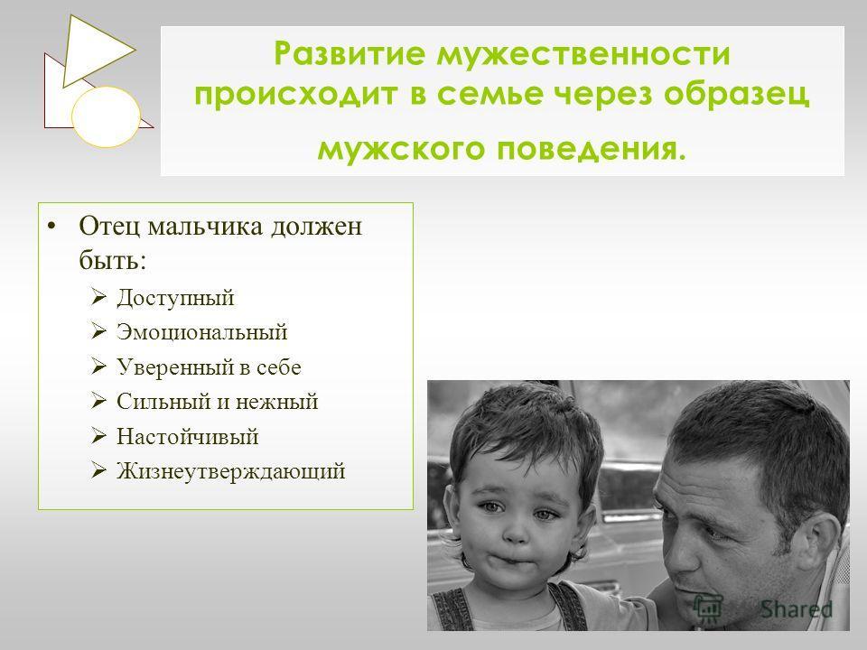 Развитие мужественности происходит в семье через образец мужского поведения. Отец мальчика должен быть: Доступный Эмоциональный Уверенный в себе Сильный и нежный Настойчивый Жизнеутверждающий