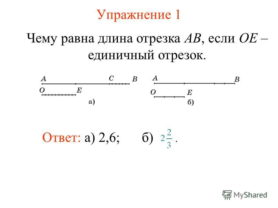 Упражнение 1 Ответ: а) 2,6; Чему равна длина отрезка AB, если OE – единичный отрезок. б).
