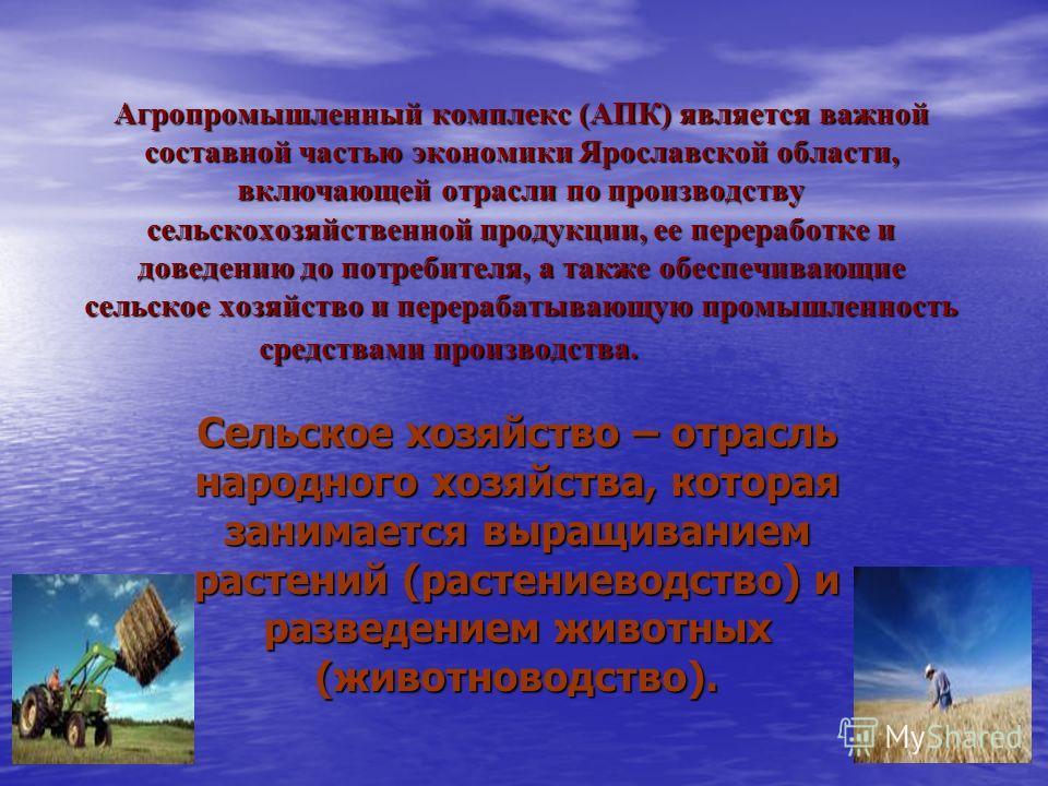 Агропромышленный комплекс (АПК) является важной составной частью экономики Ярославской области, включающей отрасли по производству сельскохозяйственной продукции, ее переработке и доведению до потребителя, а также обеспечивающие сельское хозяйство и
