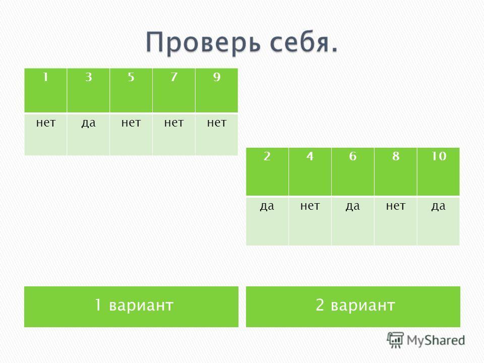 1 вариант2 вариант 13579 нетданет 246810 данетданетда
