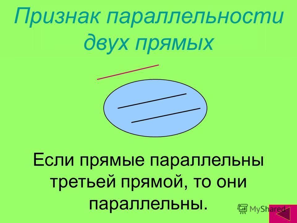 Признак параллельности двух прямых Если прямые параллельны третьей прямой, то они параллельны.