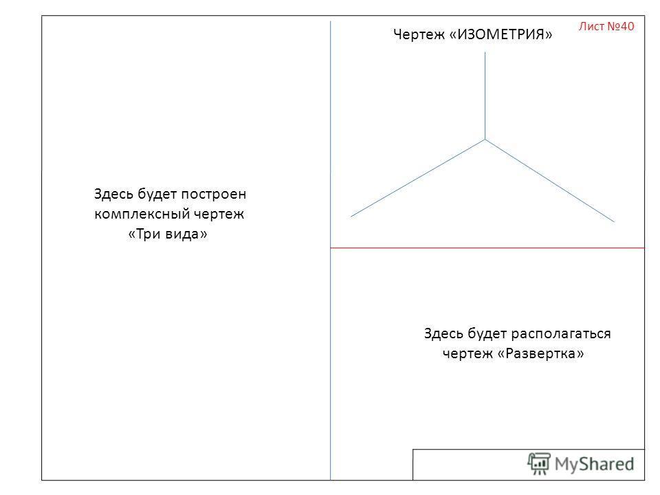 Лист 40 Здесь будет построен комплексный чертеж «Три вида» Здесь будет располагаться чертеж «Развертка» Чертеж «ИЗОМЕТРИЯ»