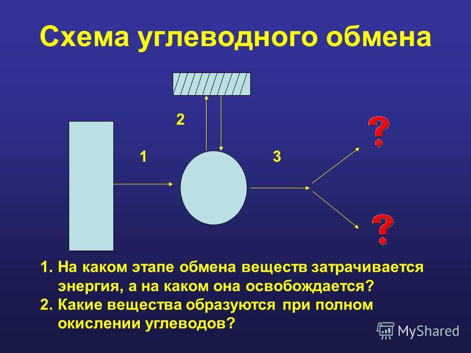 Схема углеводного обмена 1.На каком этапе обмена веществ затрачивается энергия, а на каком она освобождается? 2.Какие вещества образуются при полном окислении углеводов? 1 2 3