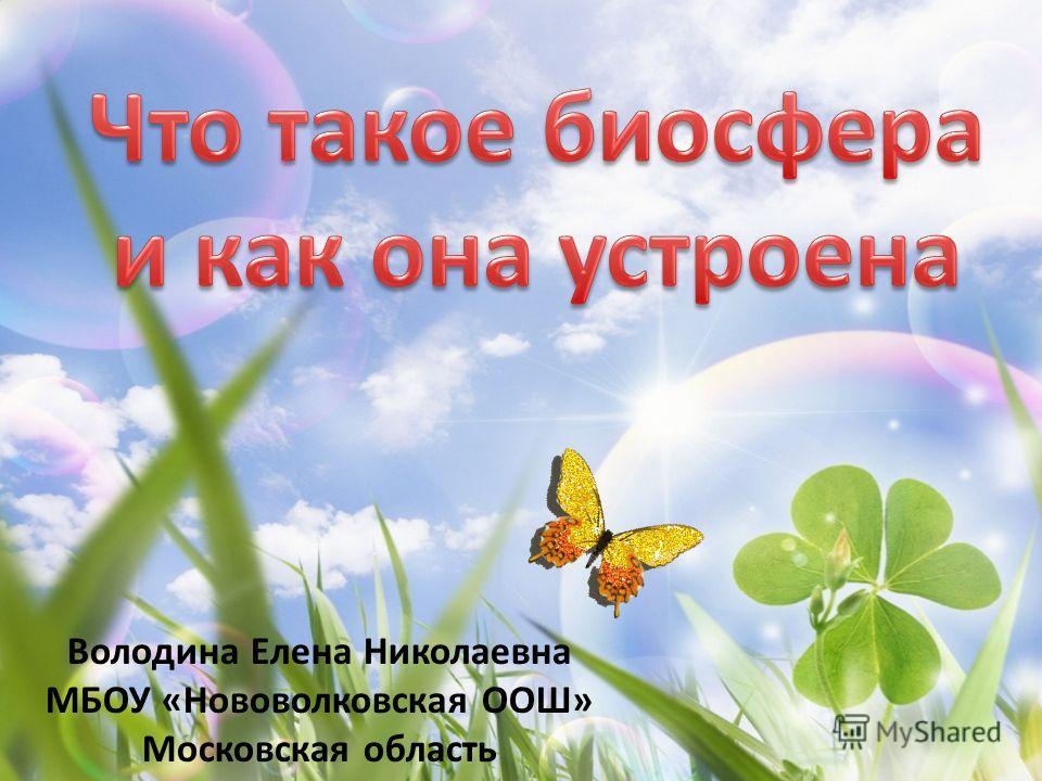 Володина Елена Николаевна МБОУ «Нововолковская ООШ» Московская область