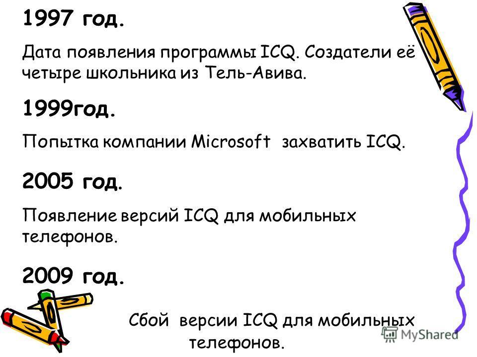 1997 год. Дата появления программы ICQ. Создатели её четыре школьника из Тель-Авива. 1999год. Попытка компании Microsoft захватить ICQ. 2005 год. Появление версий ICQ для мобильных телефонов. 2009 год. Сбой версии ICQ для мобильных телефонов.