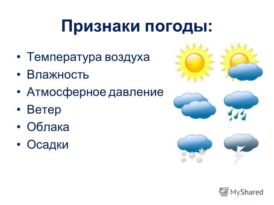 Признаки погоды: Температура воздуха Влажность Атмосферное давление Ветер Облака Осадки