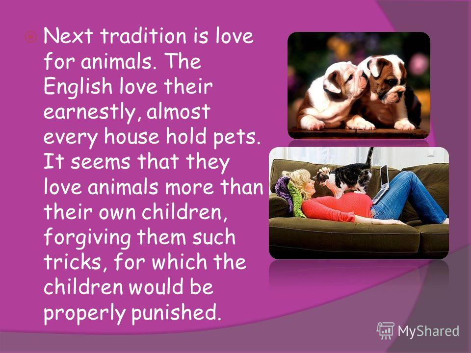 Next tradition is love for animals. The English love their earnestly, almost every house hold pets. It seems that they love animals more than their own children, forgiving them such tricks, for which the children would be properly punished.