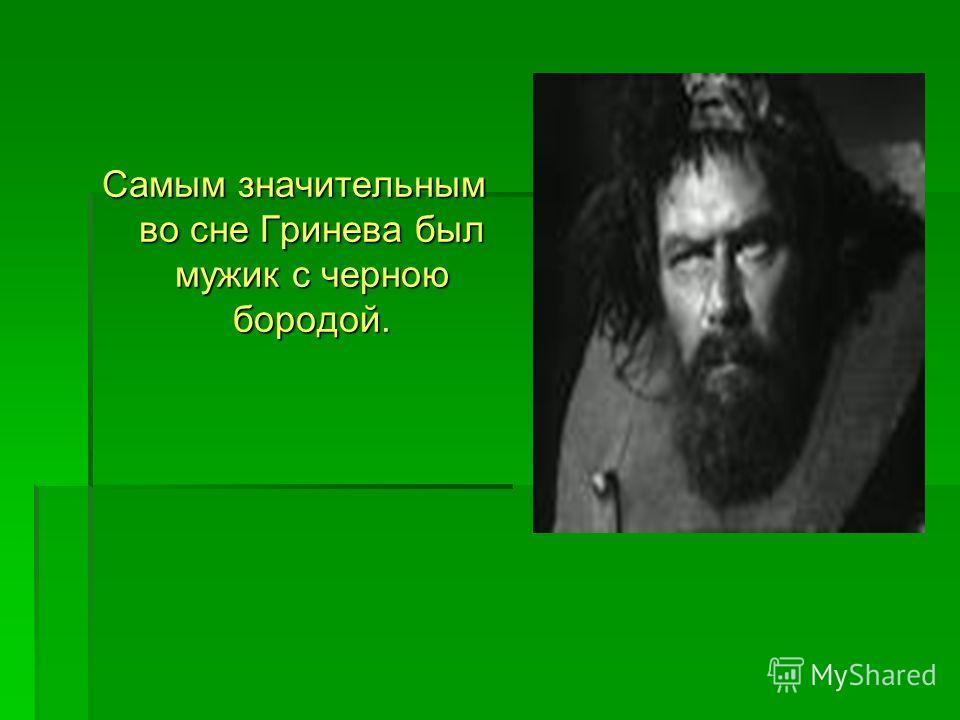 Самым значительным во сне Гринева был мужик с черною бородой.