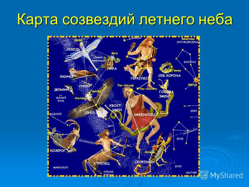 Карта созвездий летнего неба