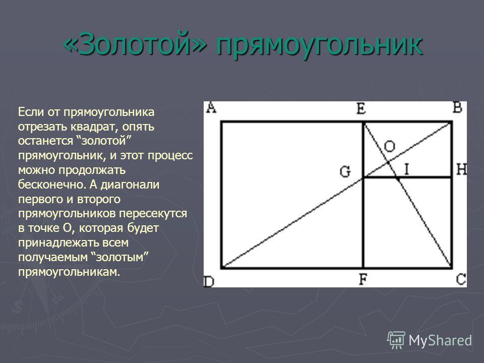«Золотой» прямоугольник Если от прямоугольника отрезать квадрат, опять останется золотой прямоугольник, и этот процесс можно продолжать бесконечно. А диагонали первого и второго прямоугольников пересекутся в точке О, которая будет принадлежать всем п