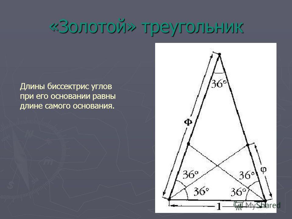 «Золотой» треугольник Длины биссектрис углов при его основании равны длине самого основания.