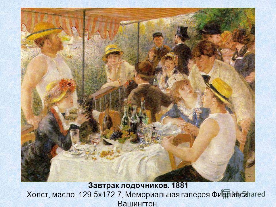 Завтрак лодочников. 1881 Холст, масло, 129.5x172.7, Мемориальная галерея Филлипса, Вашингтон.