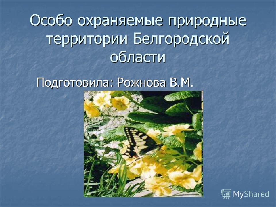 Особо охраняемые природные территории Белгородской области Подготовила: Рожнова В.М.