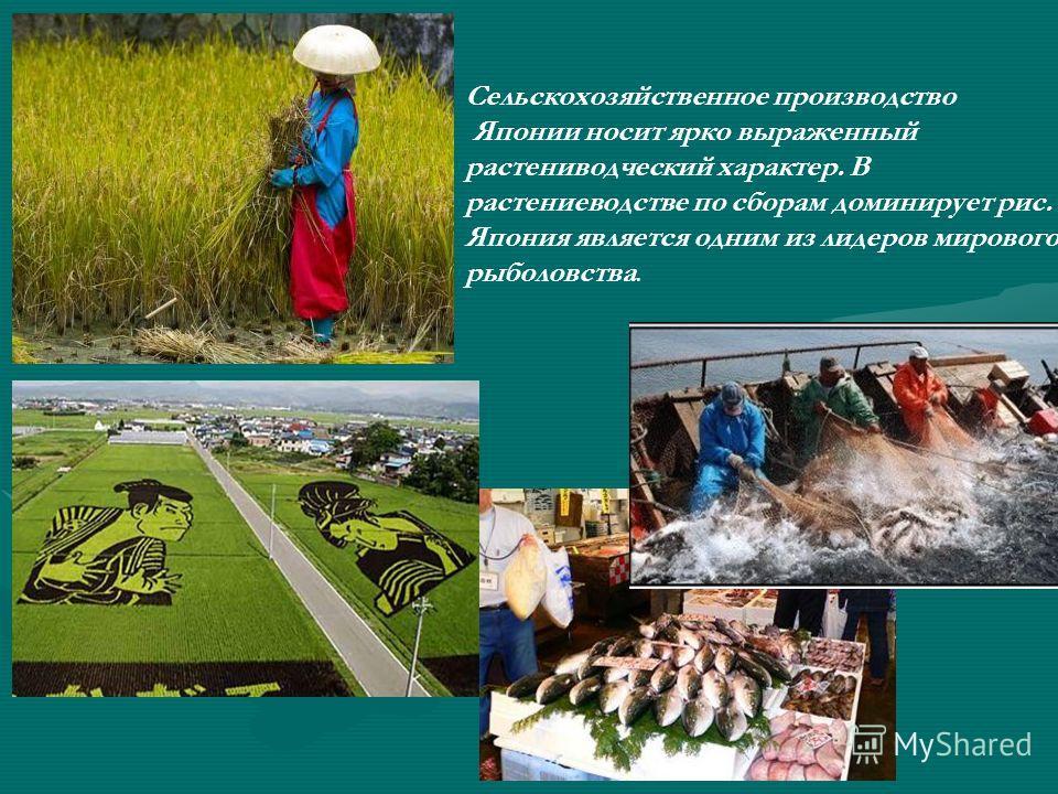 Сельскохозяйственное производство Японии носит ярко выраженный растениводческий характер. В растениеводстве по сборам доминирует рис. Япония является одним из лидеров мирового рыболовства.