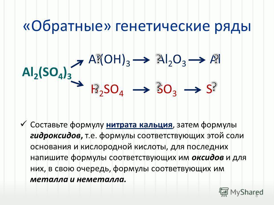«Обратные» генетические ряды Составьте формулу нитрата кальция, затем формулы гидроксидов, т.е. формулы соответствующих этой соли основания и кислородной кислоты, для последних напишите формулы соответствующих им оксидов и для них, в свою очередь, фо