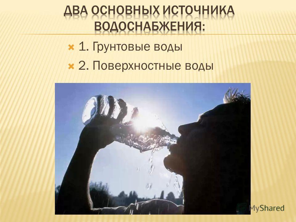 1. Грунтовые воды 2. Поверхностные воды