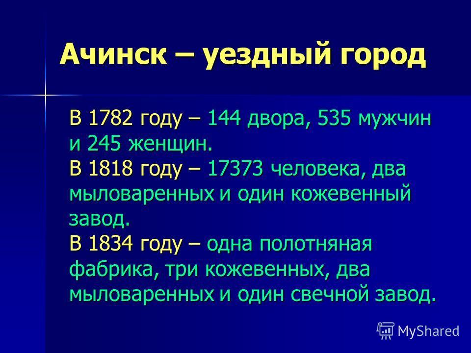 Ачинск – уездный город В 1782 году – 144 двора, 535 мужчин и 245 женщин. В 1818 году – 17373 человека, два мыловаренных и один кожевенный завод. В 1834 году – одна полотняная фабрика, три кожевенных, два мыловаренных и один свечной завод.