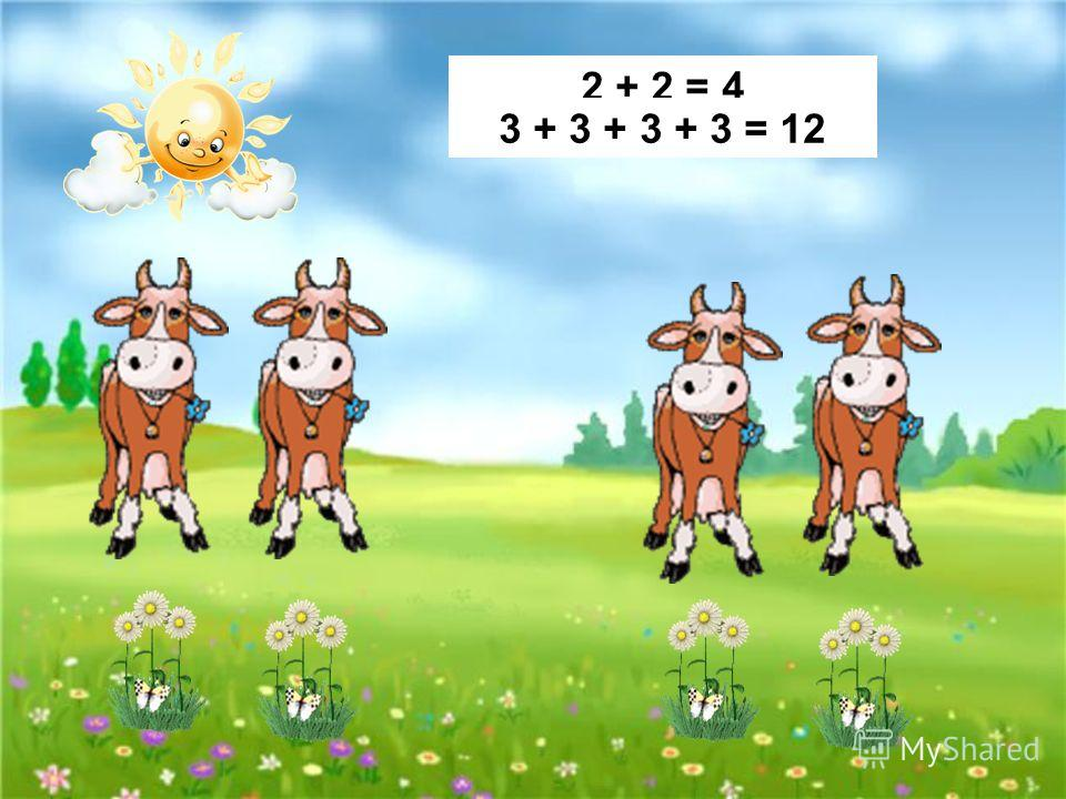 2 + 2 = 4 3 + 3 + 3 + 3 = 12