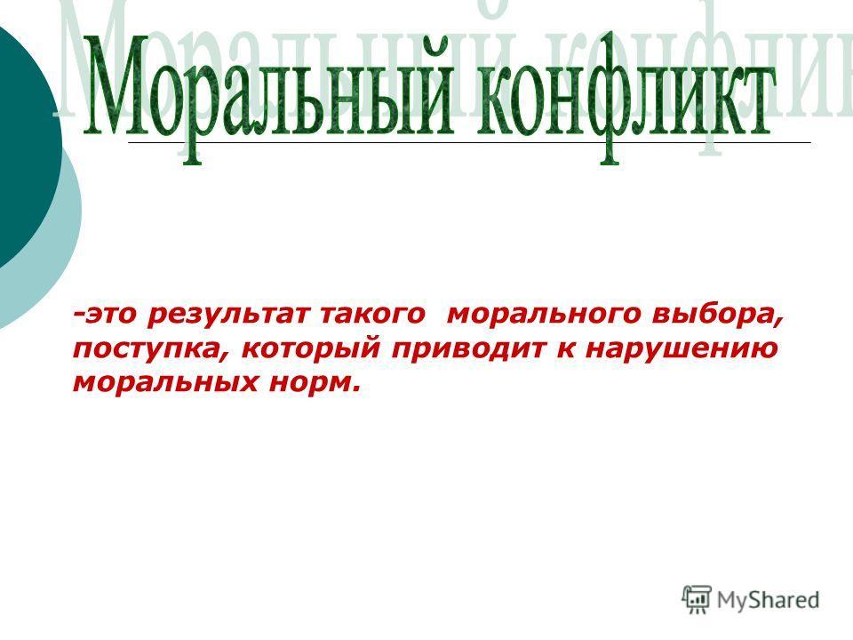 -это результат такого морального выбора, поступка, который приводит к нарушению моральных норм.