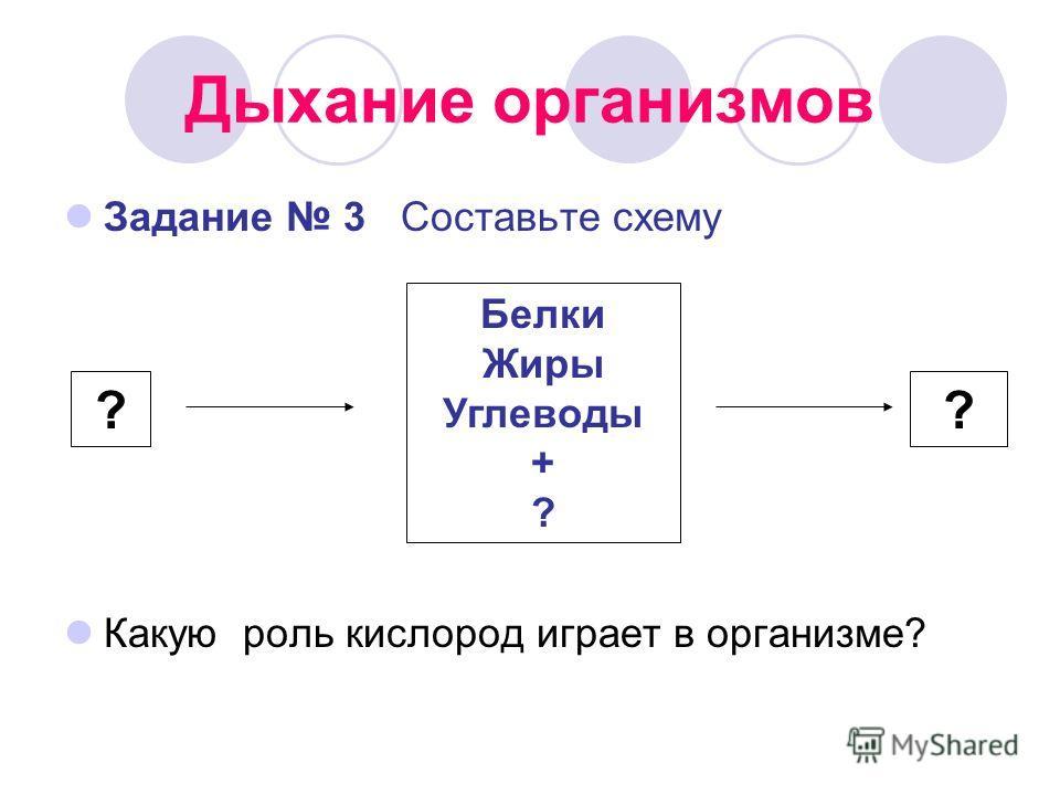 Дыхание организмов Задание 3 Составьте схему Какую роль кислород играет в организме? Белки Жиры Углеводы + ? ??