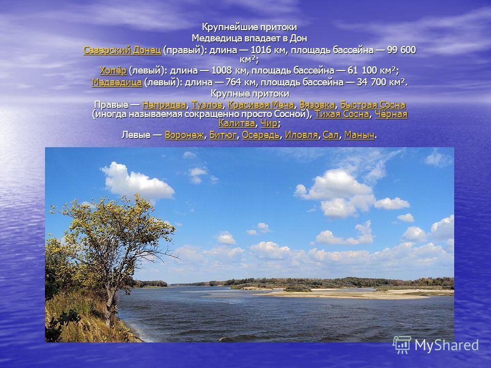 Крупнейшие притоки Медведица впадает в Дон Северский ДонецСеверский Донец (правый): длина 1016 км, площадь бассейна 99 600 км²; Северский Донец ХопёрХопёр (левый): длина 1008 км, площадь бассейна 61 100 км²; Хопёр МедведицаМедведица (левый): длина 76