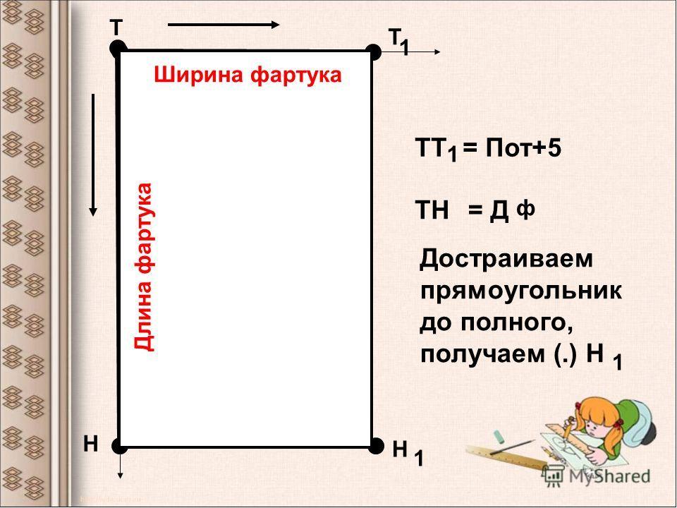 Т Т 1 Н ТТ 1 = Пот+5 ТН= Д ф Достраиваем прямоугольник до полного, получаем (.) Н 1 Н 1 Ширина фартука Длина фартука