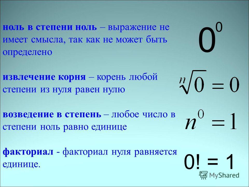 ноль в степени ноль – выражение не имеет смысла, так как не может быть определено извлечение корня – корень любой степени из нуля равен нулю возведение в степень – любое число в степени ноль равно единице факториал - факториал нуля равняется единице.