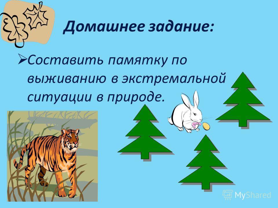 Домашнее задание: Составить памятку по выживанию в экстремальной ситуации в природе.