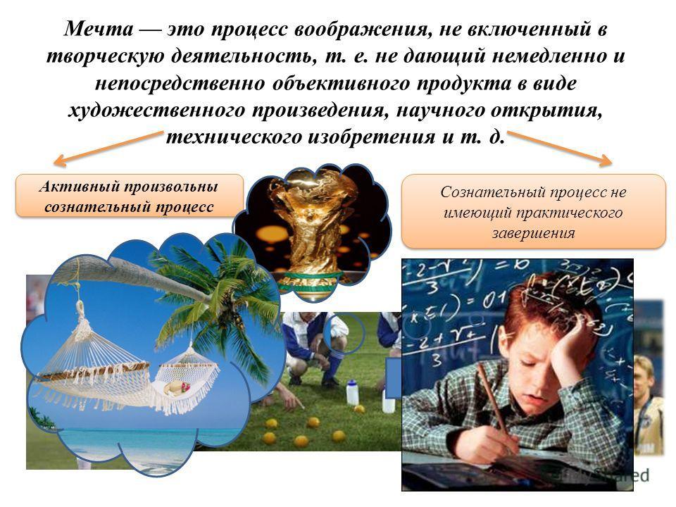 Мечта это процесс воображения, не включенный в творческую деятельность, т. е. не дающий немедленно и непосредственно объективного продукта в виде художественного произведения, научного открытия, технического изобретения и т. д. Активный произвольны с