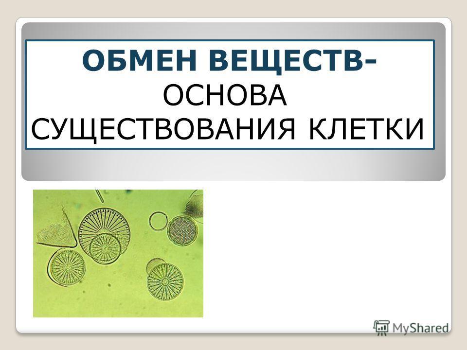 ОБМЕН ВЕЩЕСТВ- ОСНОВА СУЩЕСТВОВАНИЯ КЛЕТКИ